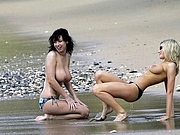 Topless British Girls Having Fun at Beach