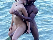 Black Man Grabbing Boobs of Sexy Blonde Mature Woman