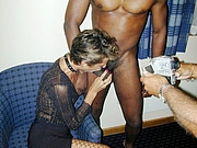 Shared Wife Sucks Big Black Dick at Swingers Party