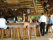 Public Nudity Wife Flashes Nude Ass at the Beach Bar