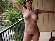 Hairy Wife Flashes Pussy and Tits on the Balcony