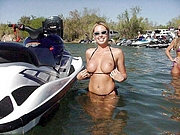 Blonde Flashing Tits in the Water