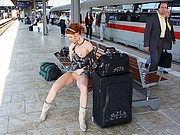 Sexy Redhead Girl Pussy Flashing in Train Station