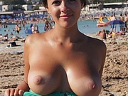 Topless Girlfriend with Great Pair of Tits at the Beach