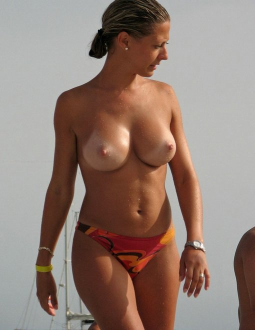 Wife Topless Nude at the Beach