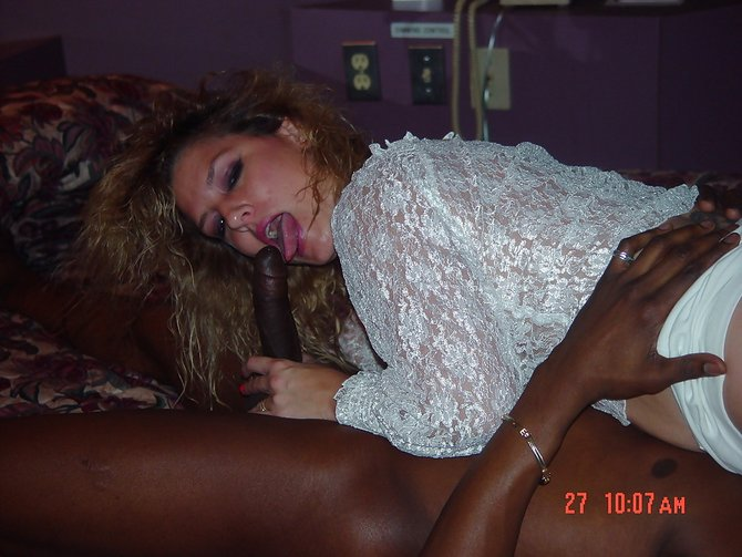 caught sucking big dick - Slutty Woman Caught Sucking Black Dick