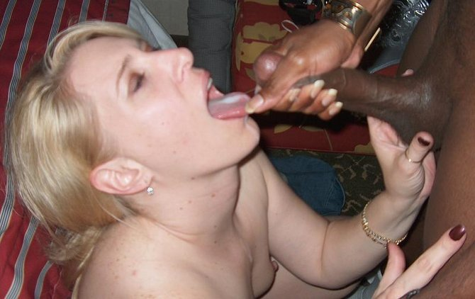 Cumshot in Mouth Black Dick Ejaculates on White Wife