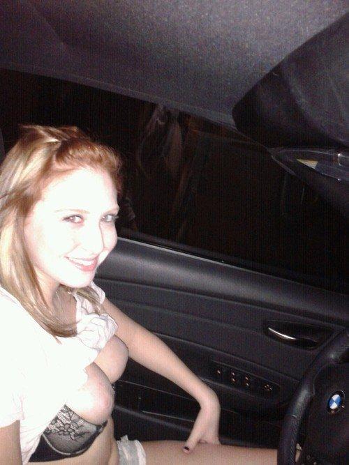 Girlfriend Flashing Tits in the Car