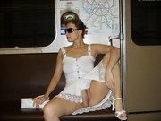 Russian Wife Flashes Nude Pussy in the Subway