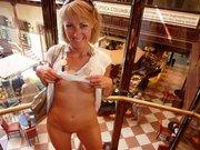 Wife Flashing Nude in Public Bar