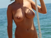 Nudist Woman Naked at the Beach