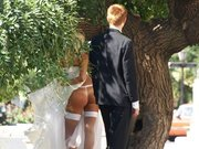 Sexy Bride in White Stockings Captured on Camera