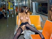 Very Sexy Woman Flashes Totally Nude in Public Metro