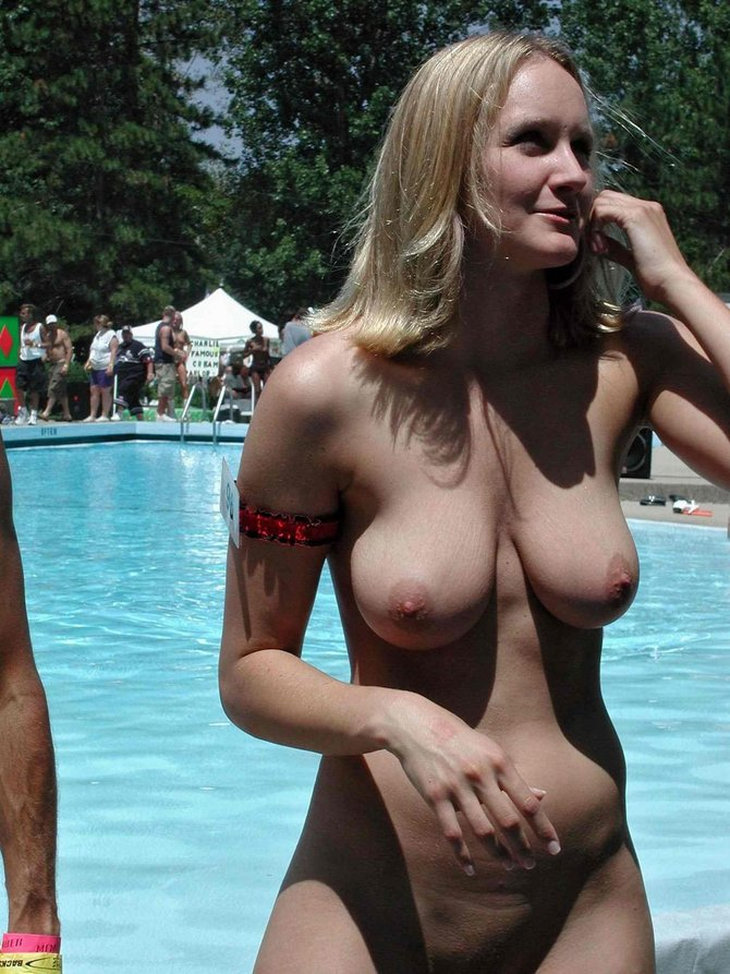 at Amateur pool women nude the